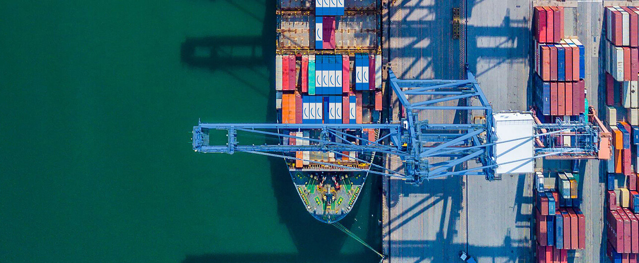 top view of Move Happy cargo containers on a ship at port