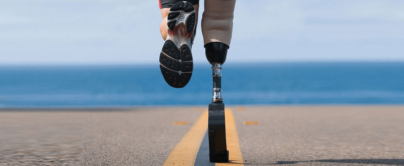 outdoor running with a prosthetic leg
