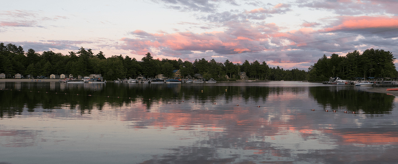 Point Sebago beach at dusk