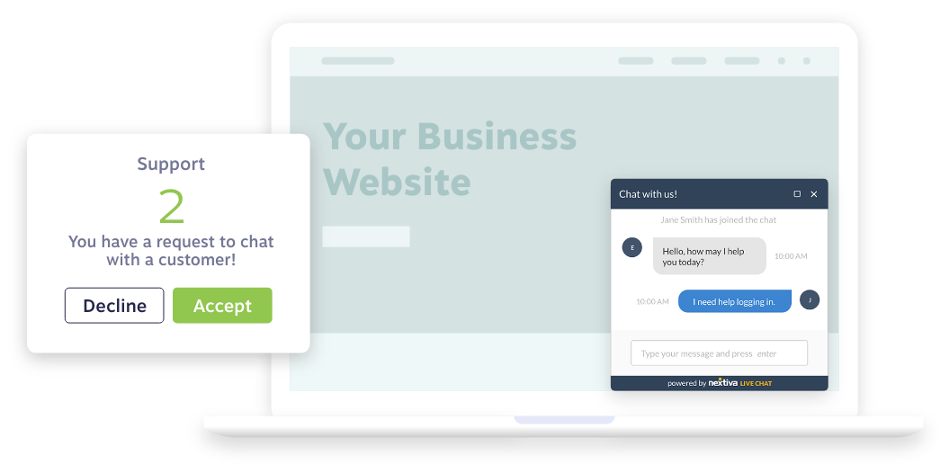 Live chat engaging with website visitors