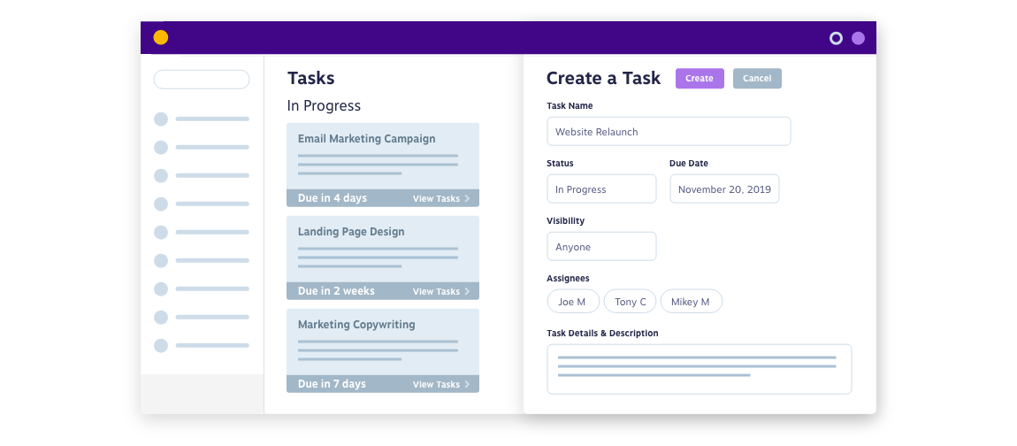 Create and track tasks in progress