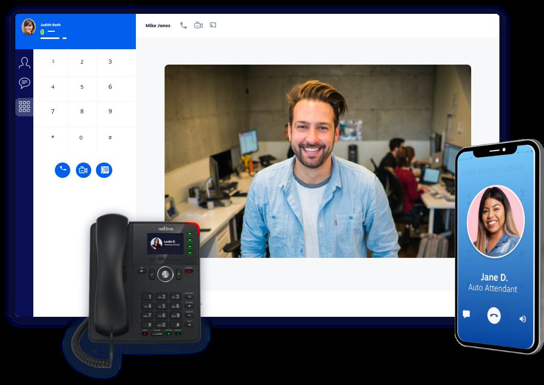 Nextiva's Cloud Phone System: Desk phone, desktop app, and mobile app.