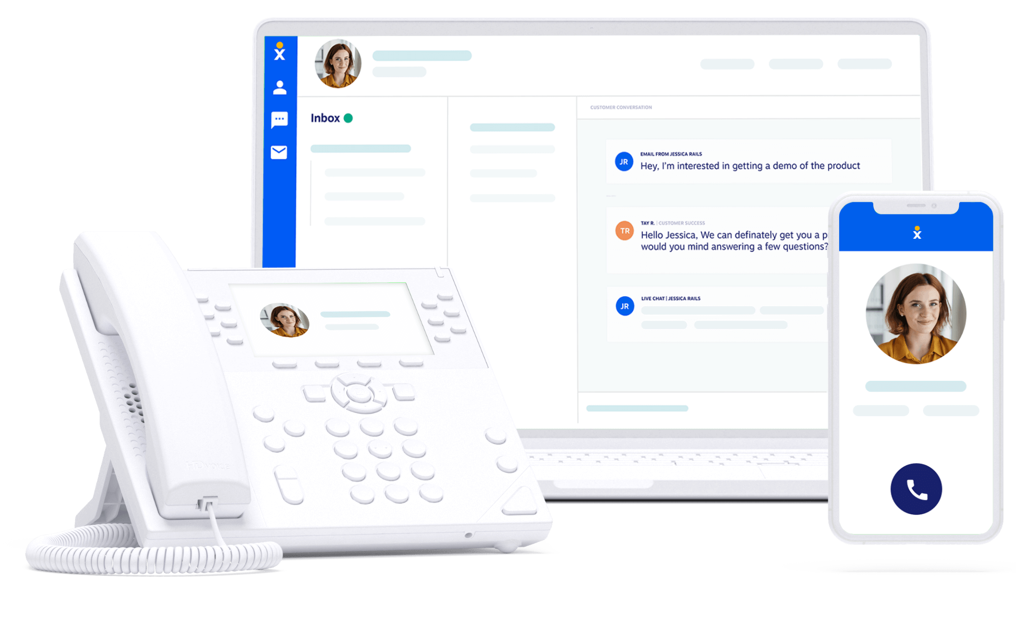 Nextiva phone system on a laptop, desk phone, and mobile app screen