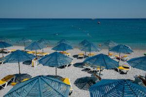 Blue parasols