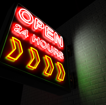 "A neon sign with the words ""Open 24 Hours"" against a brick wall. 3D render with HDRI lighting and raytraced textures."