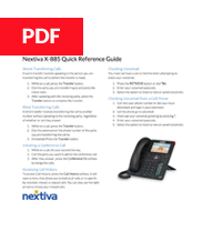 Nextiva X-835 Quick Reference Guide