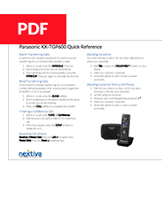 Panasonic KX-TGP 600 Quick Reference Guide