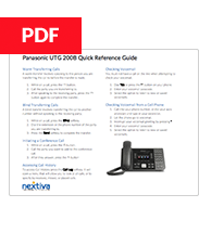 Panasonic KX-UTG 200 Quick Reference Guide