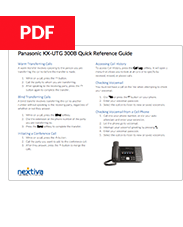 Panasonic KX-UTG 300 Quick Reference Guide