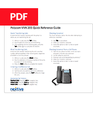 Poly VVX 201 Quick Refence Guide