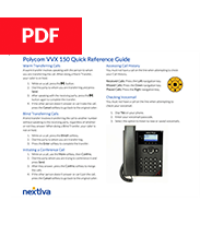 Polycom VVX 150 Quick Reference Guide