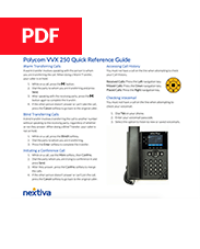 Polycom VVX 250 Quick Refence Guide