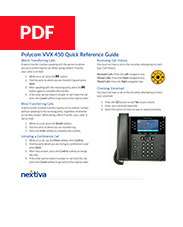 Polycom VVX 450 Quick Refence Guide