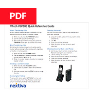 VTech VSP600 Quick Reference Guide