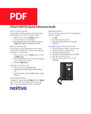 VTech VSP715 Quick Reference Guide
