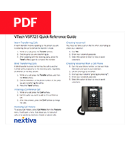 VTech VSP725 Quick Reference Guide