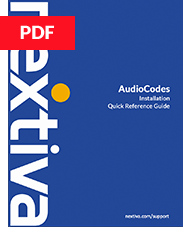 AudioCodes Installation Quick Reference Guide