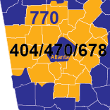 Area Codes 404, 470, 678, and 770